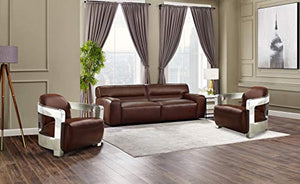 Milan 3 Piece Leather Living Room Set | Sofa | Two Aviator Chairs with Chrome Arms, Deep Seating, Brown by Sunset Trading