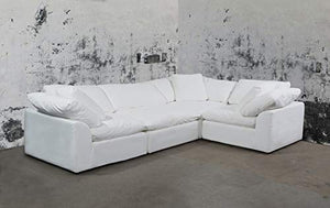 Cloud Puff 4 Piece Modular Performance White Sectional Slipcovered Sofa by Sunset Trading