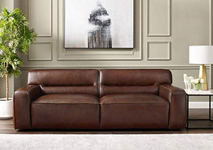 Milan 3 Piece Leather Living Room Set | Sofa | Loveseat | Aviator Chair with Chrome Arms, Deep Seating, Brown by Sunset Trading
