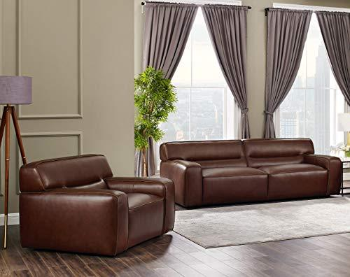 Milan 2 Piece Leather Living Room Set | Sofa | Armchair, Deep Seating, Brown by Sunset Trading