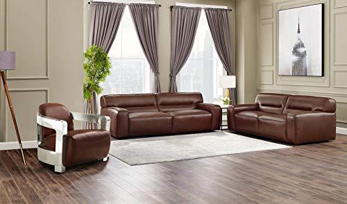 Milan 3 Piece Leather Living Room Set | Sofa | Loveseat | Aviator Chair with Chrome Arms, Brown by Sunset Trading