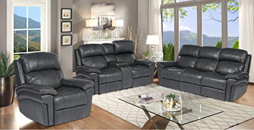 Sunset Trading Luxe Leather 3 Piece Living Room Set, Steel gray