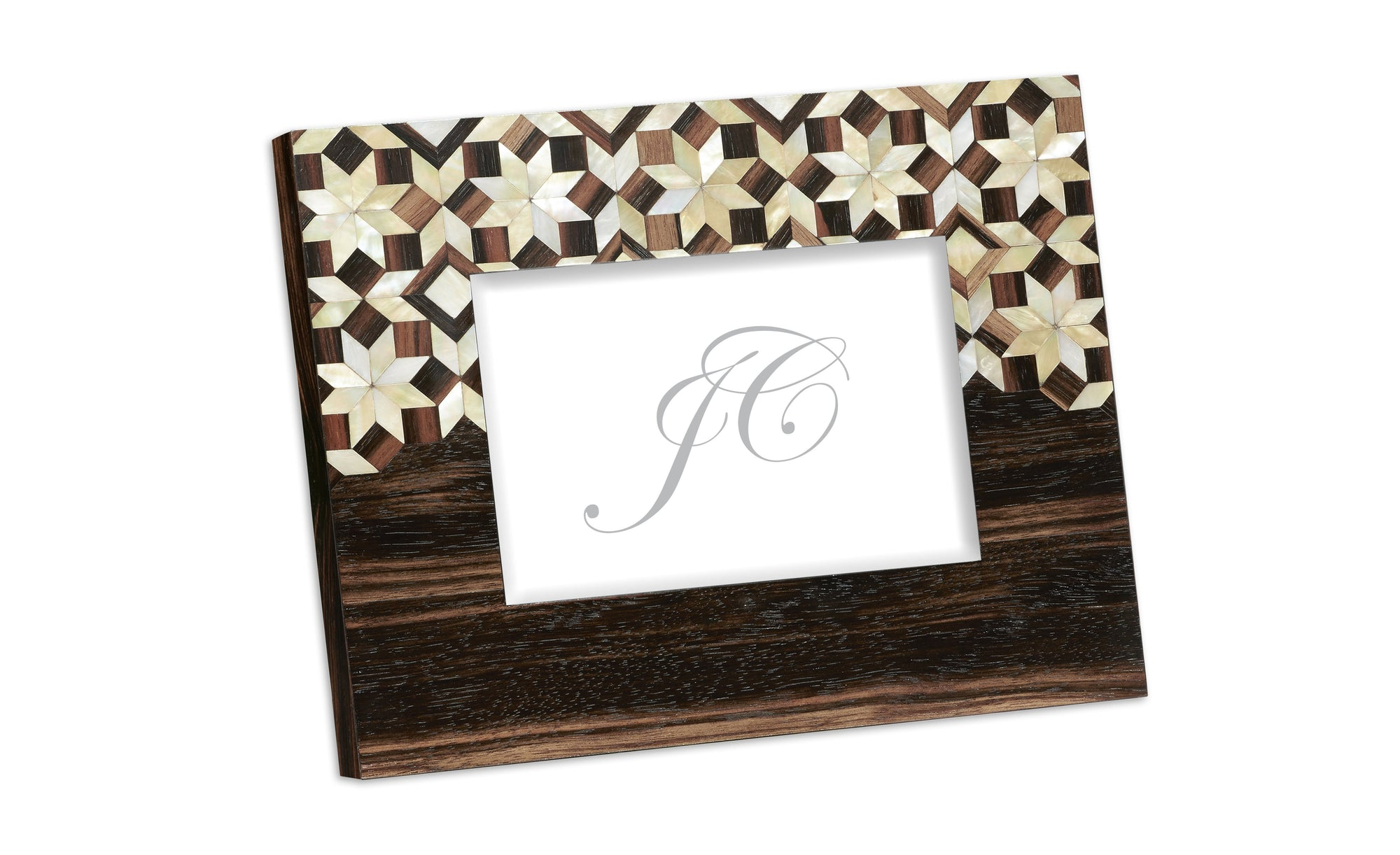 5x7 Horizontal Macassar Ebony & Mother of Pearl Mosaic Picture Frame by Jonathan Charles - HomeKingz.com - Online furniture shop with the best prices & premium customer support!