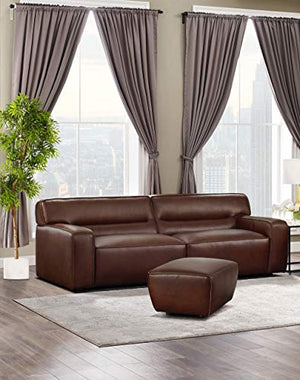 Milan 2 Piece Leather Living Room Set | Sofa with Ottoman, Brown by Sunset Trading