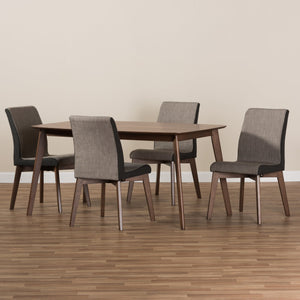 Baxton Studio Kimberly Mid-Century Modern Beige and Brown Fabric 5-Piece Dining Set