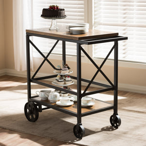 Baxton Studio Chester Rustic Industrial Style Oak Brown Finished Wood and Black Finished Metal Console Table Mobile Serving Cart