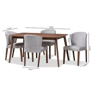 Baxton Studio Cassie Mid-Century Modern Walnut Wood Light Grey Fabric 5-Piece Dining Set