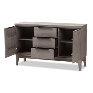 Baxton Studio Nash Rustic Platinum Wood 3-Drawer Sideboard Buffet