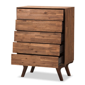 Baxton Studio Sierra Mid-Century Modern Brown Wood 5-Drawer Chest