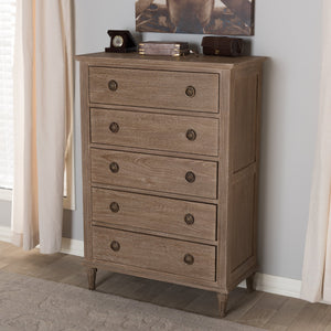 Baxton Studio Venezia French-Inspired Rustic Grey Wash Finish Wood 5-Drawer Chest