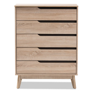 Baxton Studio Fella Mid-Century Modern Two-Tone Oak and Grey Wood 5-Drawer Chest