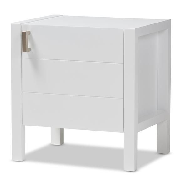 Baxton Studio Mandel Modern and Contemporary White Wood Nightstand