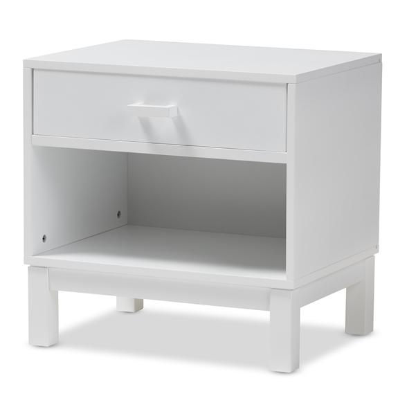 Baxton Studio Deirdre Modern and Contemporary White Wood 1-Drawer Nightstand