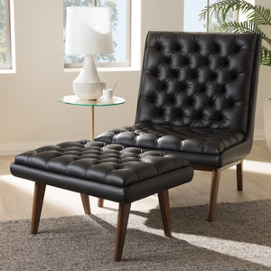 Baxton Studio Annetha Mid-Century Modern Black Faux Leather Upholstered Walnut Finished Wood Chair And Ottoman Set