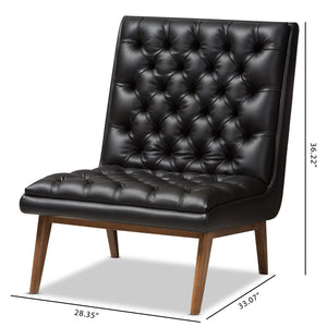 Baxton Studio Annetha Mid-Century Modern Black Faux Leather Upholstered Walnut Finished Wood Lounge Chair