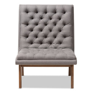 Baxton Studio Annetha Mid-Century Modern Grey Fabric Upholstered Walnut Finished Wood Lounge Chair
