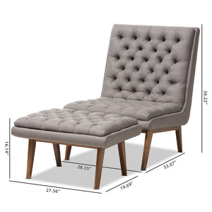 Baxton Studio Annetha Mid-Century Modern Grey Fabric Upholstered Walnut Finished Wood Chair And Ottoman Set