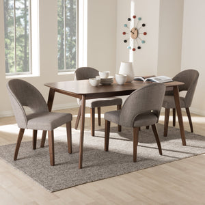 Baxton Studio Wesley Mid-Century Modern Light Grey Fabric Upholstered Walnut Finished Wood 5-Piece Dining Set
