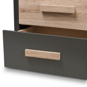 Baxton Studio Pandora Modern and Contemporary Dark Grey and Light Brown Two-Tone 6-Drawer Dresser