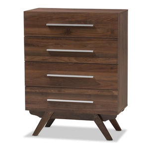 Baxton Studio Auburn Mid-Century Modern Walnut Brown Finished Wood 4-Drawer Chest
