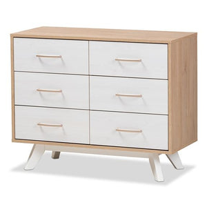 Baxton Studio Helena Mid-Century Modern Natural Oak and Whitewashed Finished Wood 6-Drawer Dresser