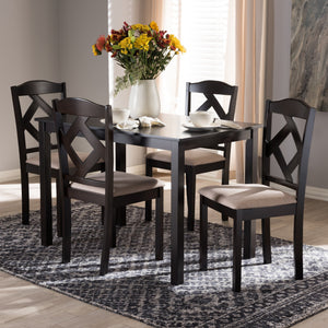 Baxton Studio Ruth Modern and Contemporary Beige Fabric Upholstered and Dark Brown Finished 5-Piece Dining Set
