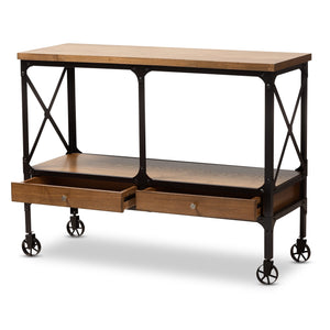 Baxton Studio Alves Vintage Rustic Industrial Style Wood and Dark Bronze Finished Metal Wheeled Console Table with Drawers