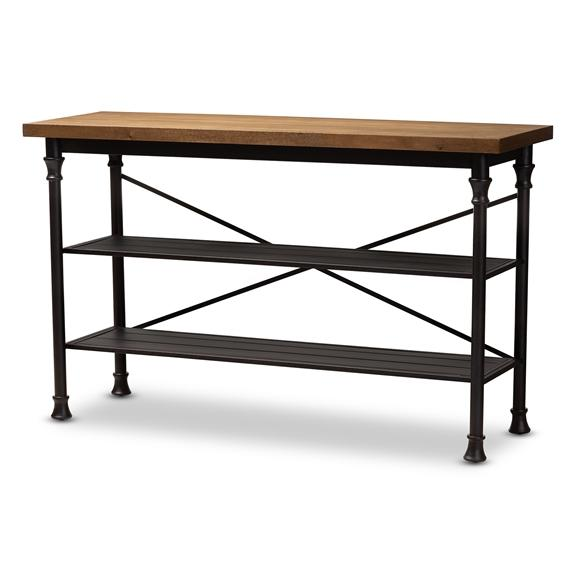 Baxton Studio Velera Vintage Rustic Industrial Style Wood and Dark Bronze-Finished Metal Kitchen Storage Shelf Unit