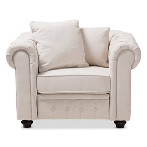 Baxton Studio Alaise Modern Classic Beige Linen Tufted Scroll Arm Chesterfield Chair