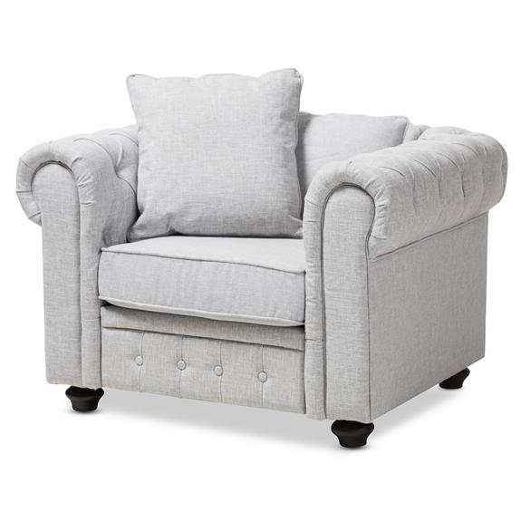 Baxton Studio Alaise Modern Classic Grey Linen Tufted Scroll Arm Chesterfield Chair