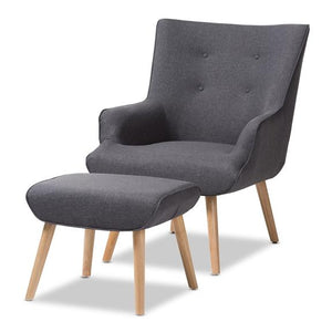 Baxton Studio Alden Mid-Century Modern Dark Grey Fabric Upholstered Natural Finished Wood Lounge Chair and Ottoman Set