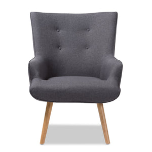 Baxton Studio Alden Mid-Century Modern Dark Grey Fabric Upholstered Natural Finished Wood Lounge Chair