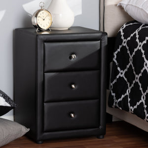 Baxton Studio Tessa Modern and Contemporary Black Faux Leather Upholstered 3-Drawer Nightstand