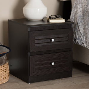 Baxton Studio Carine Modern and Contemporary Wenge Brown Finished 2-Drawer Nightstand