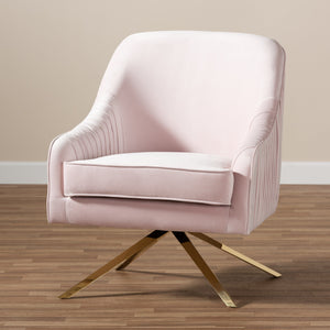 Baxton Studio Amaya Luxe and Glamour Light Pink Velvet Fabric Upholstered Gold Finished Base Lounge Chair