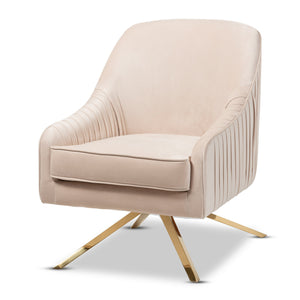 Baxton Studio Amaya Luxe and Glamour Light Beige Velvet Fabric Upholstered Gold Finished Base Lounge Chair