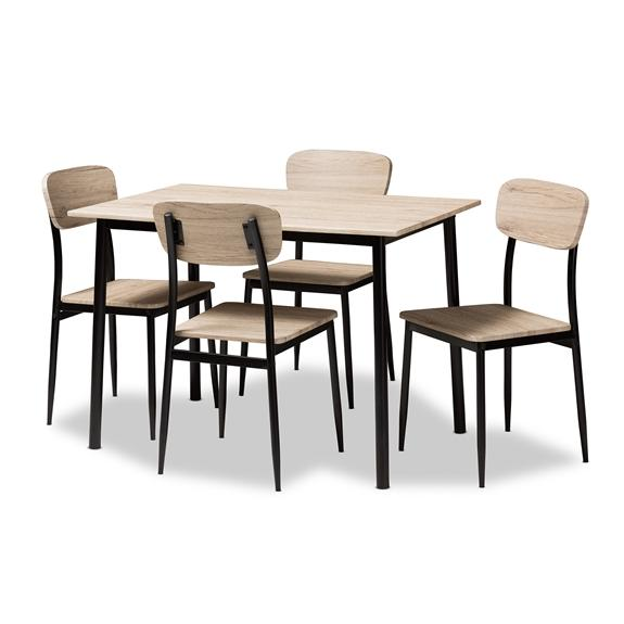 Baxton Studio Honore Mid-Century Modern Light Brown Wood Finished Matte Black Frame 5-Piece Dining Set