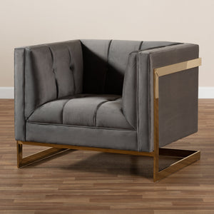 Baxton Studio Ambra Glam and Luxe Grey Velvet Fabric Upholstered and Button Tufted Armchair with Gold-Tone Frame