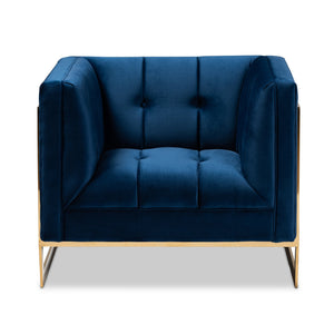 Baxton Studio Ambra Glam and Luxe Navy Blue Velvet Fabric Upholstered and Button Tufted Armchair with Gold-Tone Frame
