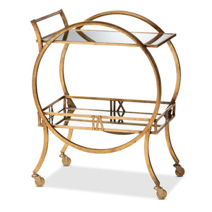 Baxton Studio Arsene Modern and Contemporary Antique Gold Finished 2-Tier Mobile Bar Cart