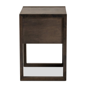 Baxton Studio Inicio Modern and Contemporary Ash Brown Finished 1-Drawer Wood Nightstand