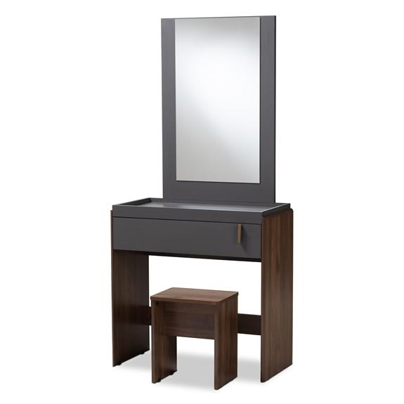 Baxton Studio Rikke Modern and Contemporary Two-Tone Gray and Walnut Finished Wood Bedroom Vanity with Stool