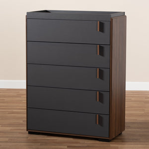 Baxton Studio Rikke Modern and Contemporary Two-Tone Gray and Walnut Finished Wood 5-Drawer Chest