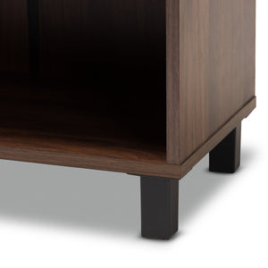 Baxton Studio Rossin Modern and Contemporary Walnut Brown Finished 2-Door Wood Entryway Shoe Storage Cabinet