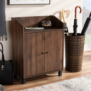 Baxton Studio Rossin Modern and Contemporary Walnut Brown Finished 2-Door Wood Entryway Shoe Storage Cabinet with Open Shelf