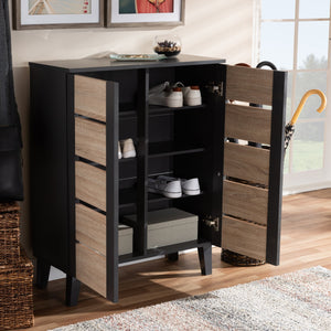 Baxton Studio Melle Modern and Contemporary Two-Tone Oak Brown and Dark Gray 2-Door Wood Entryway Shoe Storage Cabinet