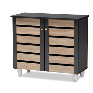 Baxton Studio Gisela Modern and Contemporary Two-Tone Oak and Dark Gray 2-Door Shoe Storage Cabinet