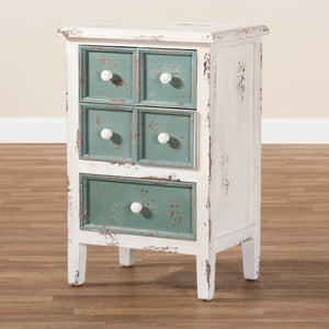 Baxton Studio Angeline Antique French Country Cottage Distressed White and Teal Finished Wood 5-Drawer Accent Chest