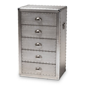 Baxton Studio Davet French Industrial Silver Metal 5-Drawer Accent Chest