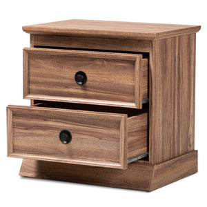 Baxton Studio Ryker Modern and Contemporary Oak Finished 2-Drawer Wood Nightstand